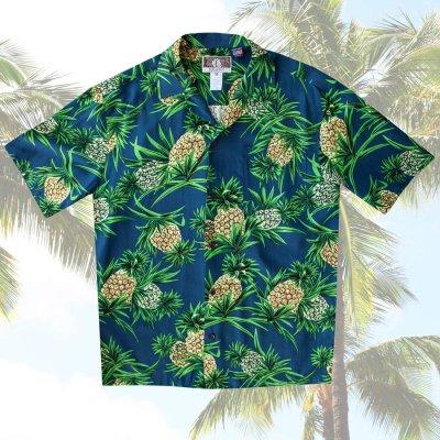 画像1: レーヨン アロハシャツ パイナップル(ネイビー)/Aloha Shirt