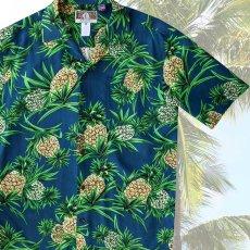 画像1: レーヨン アロハシャツ パイナップル(ネイビー)/Aloha Shirt (1)