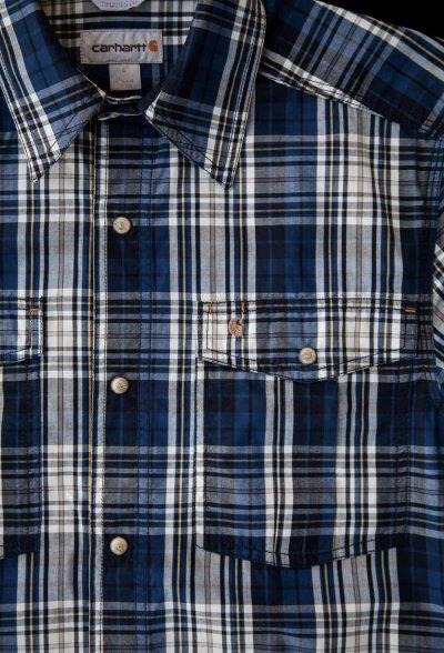 画像3: カーハート 半袖 スナップフロント シャツ(ブルー)S/Carhartt Short Sleeve Shirt