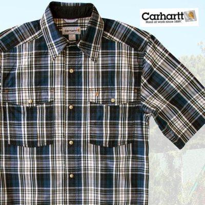画像2: カーハート 半袖 スナップフロント シャツ(ブルー)S/Carhartt Short Sleeve Shirt