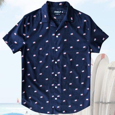 画像1: 星条旗 アロハシャツ(ネイビー)S/Short Sleeve Hawaiian Shirt(Navy)