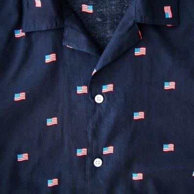 画像2: 星条旗 アロハシャツ(ネイビー)S/Short Sleeve Hawaiian Shirt(Navy)