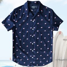 画像1: 星条旗 アロハシャツ(ネイビー)S/Short Sleeve Hawaiian Shirt(Navy) (1)