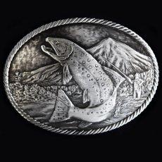 画像1: モンタナシルバースミス アウトドア ベルト バックル ワイルド トラウト/Montana Silversmiths Wild Trout Carved Belt Buckle (1)