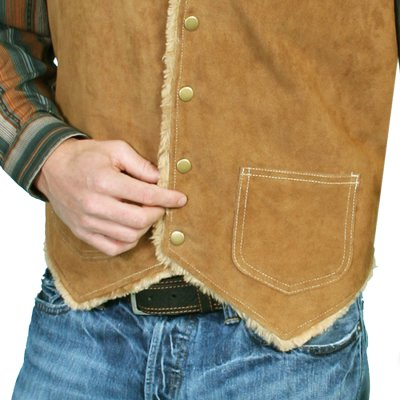 画像2: スカリー スナップフロント ボアスエード ベスト(タバコ)S/Scully Boar Suede Leather Vest(Tobacco)