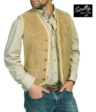 画像1: スカリー スナップフロント ボアスエード ベスト(タバコ)S/Scully Boar Suede Leather Vest(Tobacco)