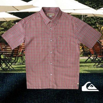 画像1: クイックシルバー 半袖 シャツ(バーガンディー・グリーン)M/Quiksilver Tencel Plaid Shortsleeve Shirt(Burgundy/Green)