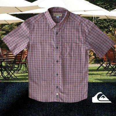 画像1: クイックシルバー 半袖 シャツ(バーガンディー・ブルー・ホワイト)/Quiksilver Tencel Plaid Shortsleeve Shirt(Burgundy/Blue/White)