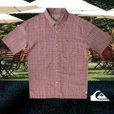 画像2: クイックシルバー 半袖 シャツ(バーガンディー・グリーン)M/Quiksilver Tencel Plaid Shortsleeve Shirt(Burgundy/Green) (2)