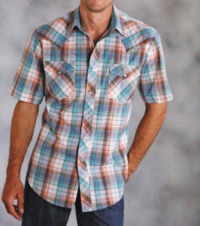画像1: ローパー ウエスタンシャツ(ターコイズ・デニム・ブラウン/半袖)/Roper Short Sleeve Western Shirt