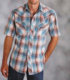 画像2: ローパー ウエスタンシャツ(ターコイズ・デニム・ブラウン/半袖)/Roper Short Sleeve Western Shirt (2)