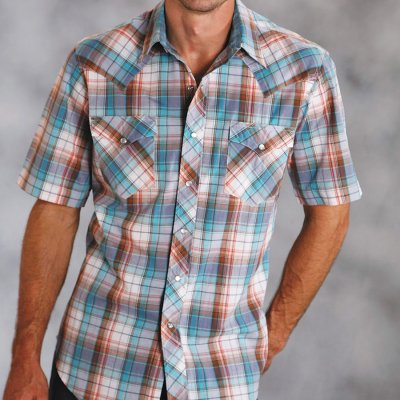 画像2: ローパー ウエスタンシャツ(ターコイズ・デニム・ブラウン/半袖)/Roper Short Sleeve Western Shirt