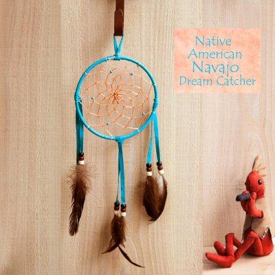 画像1: アメリカインディアン ナバホ族 鹿革製 ハンドメイド ドリームキャッチャー 13cm(ターコイズ/ブラック・ブラウン・ホワイト)/Navajo Hand Made Dream Catcher