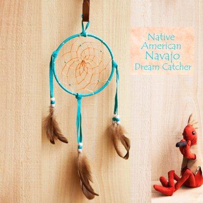 画像1: アメリカインディアン ナバホ族 鹿革製 ハンドメイド ドリームキャッチャー 13cm(ターコイズ/ホワイト・ターコイズ・ライトグレー)/Navajo Hand Made Dream Catcher