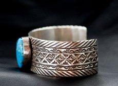 画像3: ナバホ キングマン ターコイズ スターリングシルバー ハンドメイド ブレスレット/Navajo Kingman Turquoise Sterling Silver Bracelet (3)