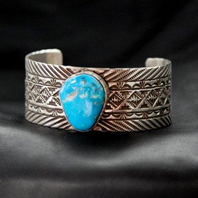 画像2: ナバホ キングマン ターコイズ スターリングシルバー ハンドメイド ブレスレット/Navajo Kingman Turquoise Sterling Silver Bracelet