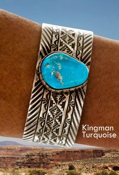 画像1: ナバホ キングマン ターコイズ スターリングシルバー ハンドメイド ブレスレット/Navajo Kingman Turquoise Sterling Silver Bracelet