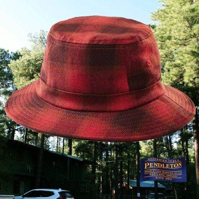 画像1: ペンドルトン バケット ハット(レッド・バーガンディー)/Pendleton Plaid Bucket Hat