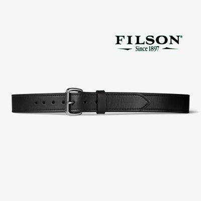 画像1: フィルソン ダブル ベルト ブラック(幅38mm 厚み7mm)/Filson 1-1/2 Bridle Leather Double Belt(Black)