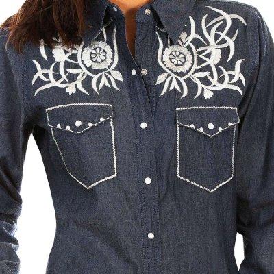 画像2: スカリー ホワイト刺繍 ウエスタン シャツ(長袖/デニム)S/Scully Long Sleeve Western Shirt(Women's)