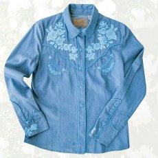 画像1: スカリー ローズ刺繍 ウエスタン シャツ(長袖/デニム・ライトブルーローズ)S/Scully Long Sleeve Western Shirt(Women's) (1)