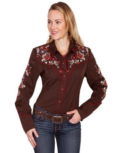 画像2: スカリー フローラル刺繍 ウエスタン シャツ(長袖/チョコレート)M/Scully Long Sleeve Western Shirt(Women's)
