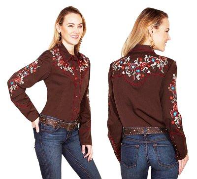 画像3: スカリー フローラル刺繍 ウエスタン シャツ(長袖/チョコレート)M/Scully Long Sleeve Western Shirt(Women's)