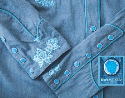 画像2: スカリー ローズ刺繍 ウエスタン シャツ(長袖/デニム・ライトブルーローズ)S/Scully Long Sleeve Western Shirt(Women's)