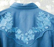 画像3: スカリー ローズ刺繍 ウエスタン シャツ(長袖/デニム・ライトブルーローズ)S/Scully Long Sleeve Western Shirt(Women's) (3)