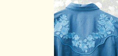 画像3: スカリー ローズ刺繍 ウエスタン シャツ(長袖/デニム・ライトブルーローズ)S/Scully Long Sleeve Western Shirt(Women's)