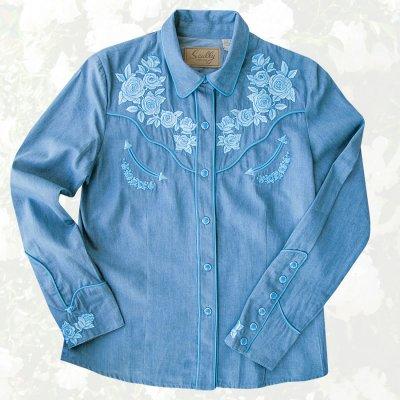画像1: スカリー ローズ刺繍 ウエスタン シャツ(長袖/デニム・ライトブルーローズ)S/Scully Long Sleeve Western Shirt(Women's)
