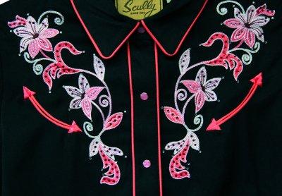 画像3: スカリー ピンクフローラル 刺繍 ウエスタン シャツ(長袖/ブラック)/Scully Long Sleeve Western Shirt(Women's)