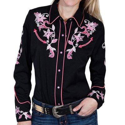 画像1: スカリー ピンクフローラル 刺繍 ウエスタン シャツ(長袖/ブラック)/Scully Long Sleeve Western Shirt(Women's)