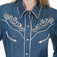 画像2: スカリー フローラル刺繍 ラインストーン ウエスタン シャツ(長袖/デニム)/Scully Long Sleeve Western Shirt(Women's) (2)