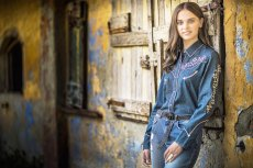 画像3: スカリー フローラル刺繍 ラインストーン ウエスタン シャツ(長袖/デニム)/Scully Long Sleeve Western Shirt(Women's) (3)
