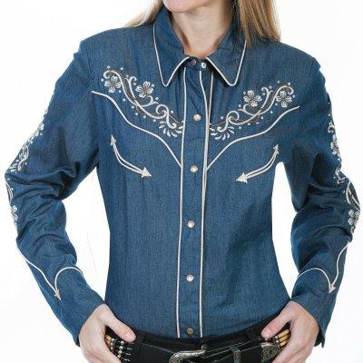 画像1: スカリー フローラル刺繍 ラインストーン ウエスタン シャツ(長袖/デニム)/Scully Long Sleeve Western Shirt(Women's)