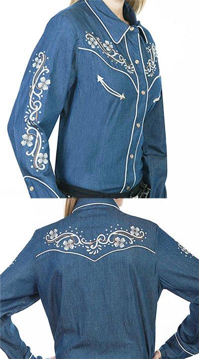 画像3: スカリー フローラル刺繍 ラインストーン ウエスタン シャツ(長袖/デニム)/Scully Long Sleeve Western Shirt(Women's)