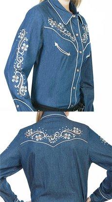 画像5: スカリー フローラル刺繍 ラインストーン ウエスタン シャツ(長袖/デニム)/Scully Long Sleeve Western Shirt(Women's) (5)