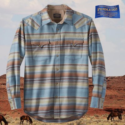 画像1: ペンドルトン  ピュアーヴァ-ジンウール ウエスタンシャツ(ブルー・ブラウンストライプ)M/Pendleton Western Shirt(Blue/Brown Stripe)