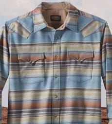 画像2: ペンドルトン  ピュアーヴァ-ジンウール ウエスタンシャツ(ブルー・ブラウンストライプ)M/Pendleton Western Shirt(Blue/Brown Stripe) (2)