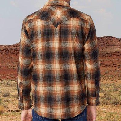 画像2: ペンドルトン  ピュアーヴァ-ジンウール ウエスタンシャツ(ブルー・ブラウンストライプ)M/Pendleton Western Shirt(Blue/Brown Stripe)