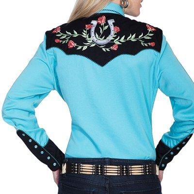 画像3: スカリー 薔薇と蹄鉄刺繍 ウエスタン シャツ(長袖/ターコイズ)/Scully Long Sleeve Western Shirt(Women's)