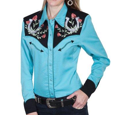画像2: スカリー 薔薇と蹄鉄刺繍 ウエスタン シャツ(長袖/ターコイズ)/Scully Long Sleeve Western Shirt(Women's)