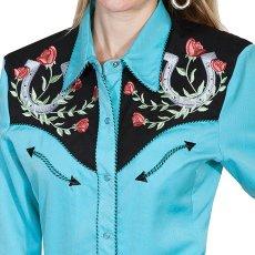 画像2: スカリー 薔薇と蹄鉄刺繍 ウエスタン シャツ(長袖/ターコイズ)/Scully Long Sleeve Western Shirt(Women's) (2)