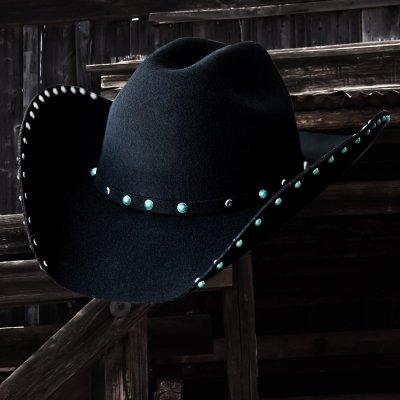 画像1: ターコイズ&シルバー スタッズ ウール カウボーイハット(ブラック)/Wool Felt Cowboy Hat(Black)