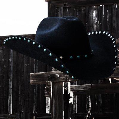 画像2: ターコイズ&シルバー スタッズ ウール カウボーイハット(ブラック)/Wool Felt Cowboy Hat(Black)
