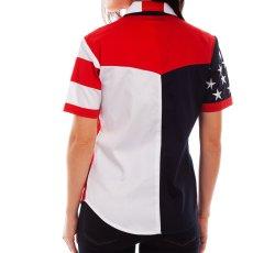 画像4: スカリー 刺繍スター☆ USA アメリカ国旗 シャツ(半袖/アメリカンフラッグ)/Scully Western Shirt(Women's) (4)