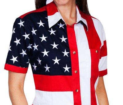 画像1: スカリー 刺繍スター☆ USA アメリカ国旗 シャツ(半袖/アメリカンフラッグ)/Scully Western Shirt(Women's)