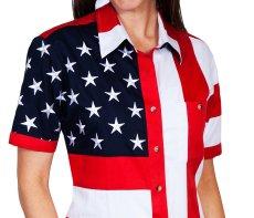 画像3: スカリー 刺繍スター☆ USA アメリカ国旗 シャツ(半袖/アメリカンフラッグ)/Scully Western Shirt(Women's) (3)