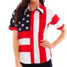 画像1: スカリー 刺繍スター☆ USA アメリカ国旗 シャツ(半袖/アメリカンフラッグ)/Scully Western Shirt(Women's) (1)